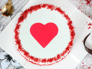 Top View of Red velvet with a fondant heart