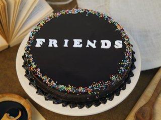 Chocolatey Friends cake