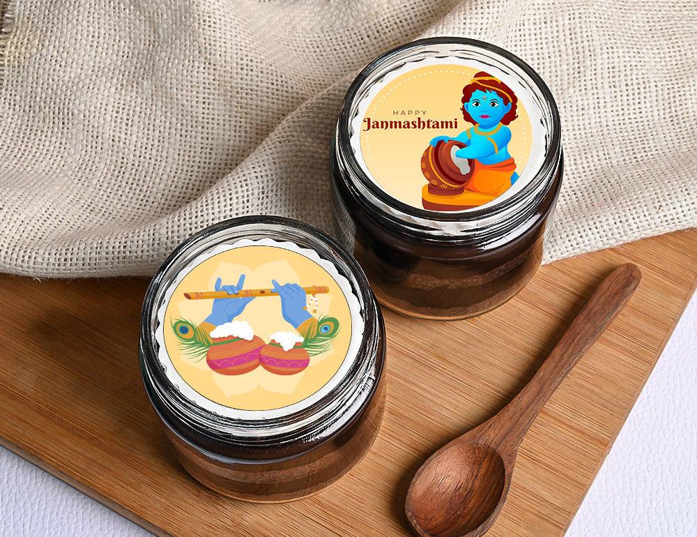 Janmashtami Chocolate Poster Jar Cake