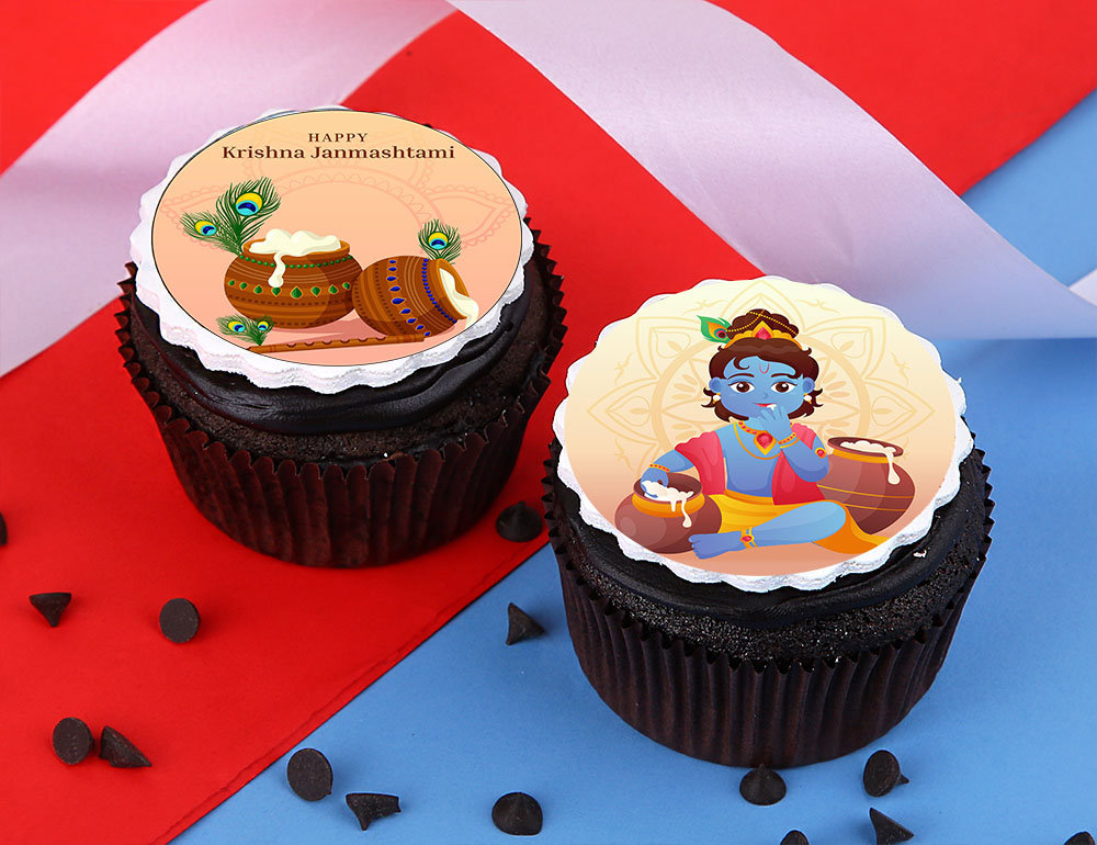 Janmashtami Chocolate Butter Cupcakes