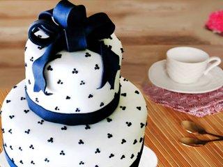 Multi flavored 2 tier joyous jollification theme cake