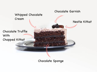 Sliced View of Munchy Crunchy Kitkat Cake with ingredients