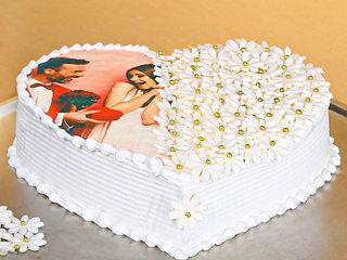 Multi Flavoured Heart Shaped Photo Cake