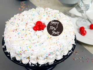 New Year White Forest Cake