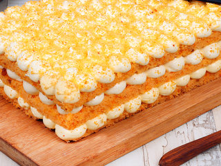 Zoomed View of Orange Bubble Rectangle Cake