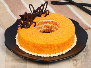 Donut Like Orange Cake N Chocolate Topping