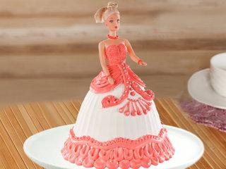 Multi flavored red barbie fondant cake
