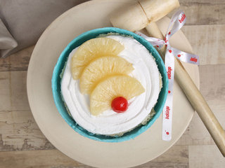Top View of Inside Doraemon Pinata Cake in Pineapple Flavour