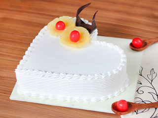 Side View of Heart Shaped Pineapple Cake