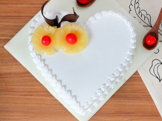Top View of Heart Shaped Pineapple Cake