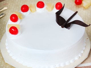 Zoomed View of Sweet Round Shape Pineapple Cake