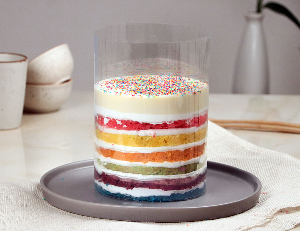Rainbow Flowing Pull me Up Cake