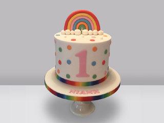 Rainbow Polkadot Birthday Fondant Cake