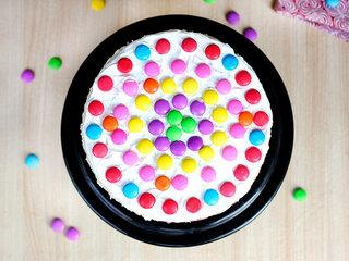 Top View of Luscious Layered Rainbow Cake