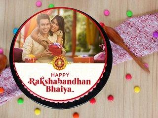 Rakhi Personalised Photo Cake With Single Rakhi