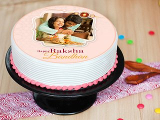 Raksha Bandhan Photo Cake N Single Rakhi