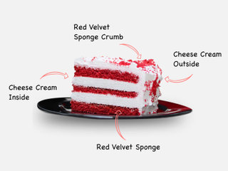Sliced View of Red Velvet Cake With Choco Sticks with ingredients