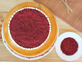 Top View of Red Velvet Choco Coffee Cake