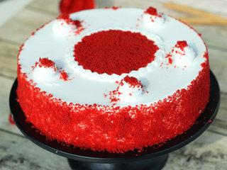 Zoomed View of Classic Red Velvet Cake