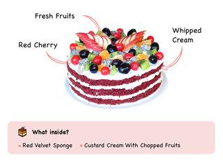 Red Velvet Fruit Cake with ingredients
