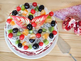 Top View of Red Velvet Fruit Cake