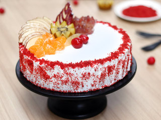 Red Velvet Fruit Vegan Cake in Noida