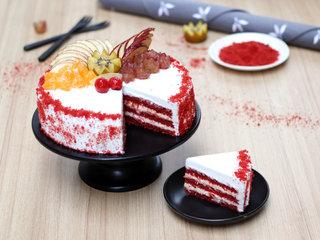 Sliced View of Red Velvet Fruit Vegan Cake in Noida
