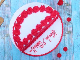 Top View of Red Velvet Half Cake