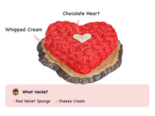Red Velvet Heart Cake with ingredients