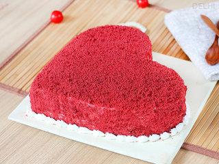Lateral View of Red Velvet Heart Cake