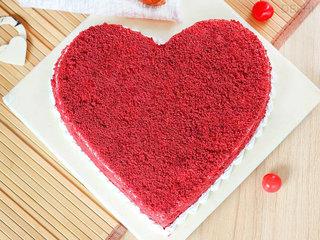 Top View of Red Velvet Heart Cake