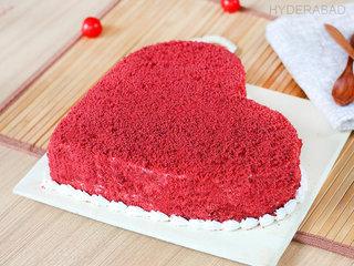 Side View of Red Velvet Heart Cake