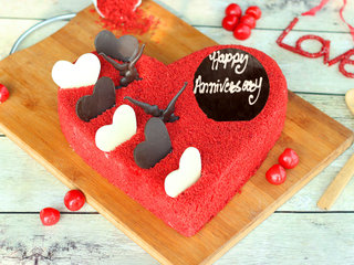 Red Velvet Heart Shaped Anniversary Cake