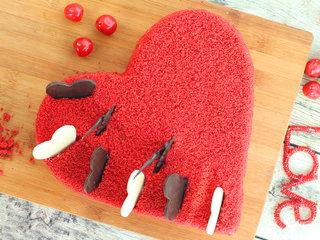 Top View of Hearty Velvet Love Cake in Hyderabad