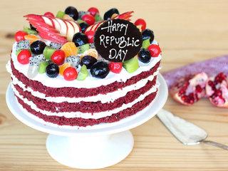 Republic Day Red Velvet Fruit Cake