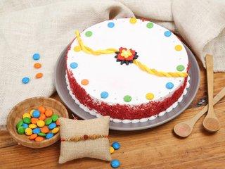Round N Colourful Rakhi Red Velvet Cake