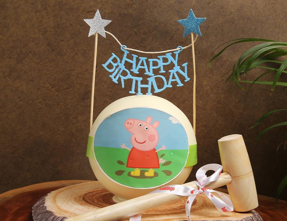 Round Peppa Pig Red Velvet Cake