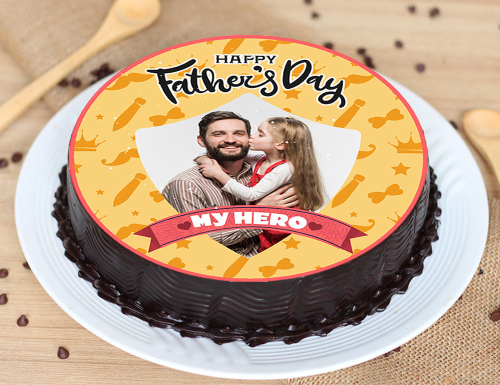 Round Photo Father'S Day Cake