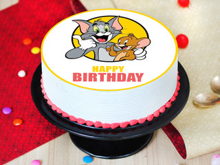 Round Pinapple Tom N Jerry Poster Cake