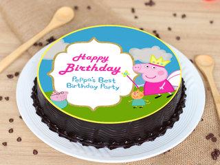 Round Purple Peppa Pig Chocolate Poster Cake