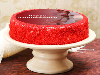Side View of Red Velvet Photo Cake For Anniversary