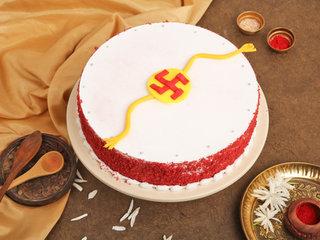 Round Red Velvet Rakhi Cake