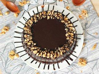 Top View of Choco Walnut Cake