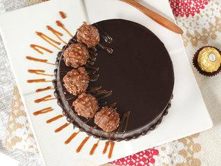 Top View of Chocolate Ferrero Rocher Cake