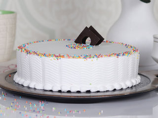 Side View of Sprinkled Adventure - A Vanilla Cake