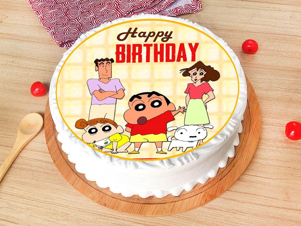 Round Shinchan Family Birthday Vanilla Poster Cake