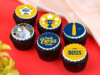 Set of 6 Luscious Boss Day Cupcakes