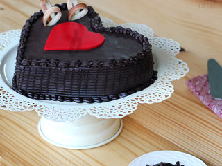 Side View of Double Heart Choco Truffle Cake