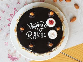 Top View of Chocolate Truffle Rakhi Special Cake