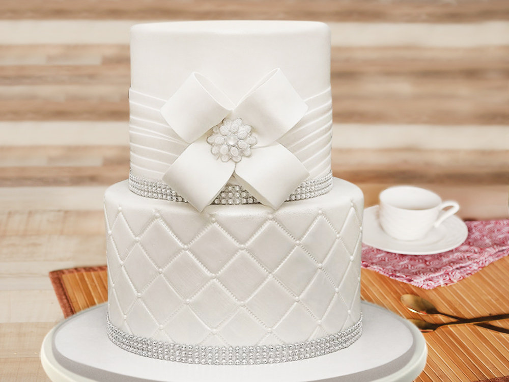 2 Tier White Party Cake